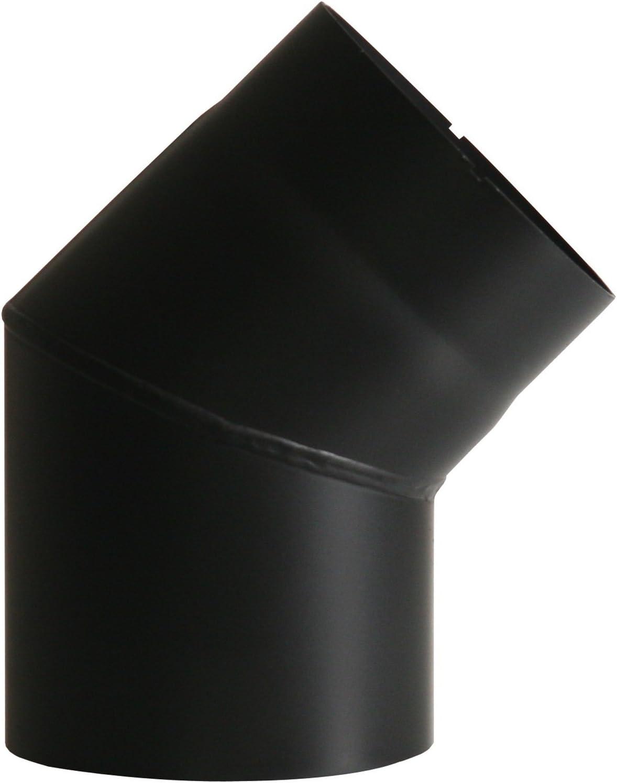 Kamino - Flam – Codo para chimenea de leña y estufa de leña, Codo vitrificado – resistente a altas temperaturas – Negro, Ø 150 mm/45°C
