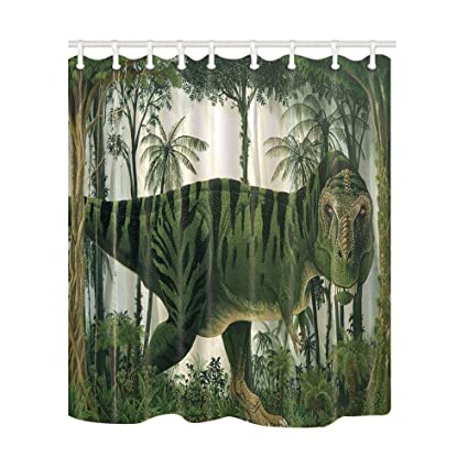 NYMB Animals Decor Dinosaur In Tropical Rainforest Palm Tree Shower Curtain 69X70 Inches Mildew Resistant Polyester