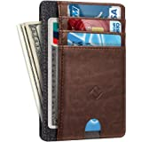 Slim Minimalist Wallet Card Holder, Fintie RFID Blocking Money Pocket with ID Window Credit Card Slot Cases (Brown)