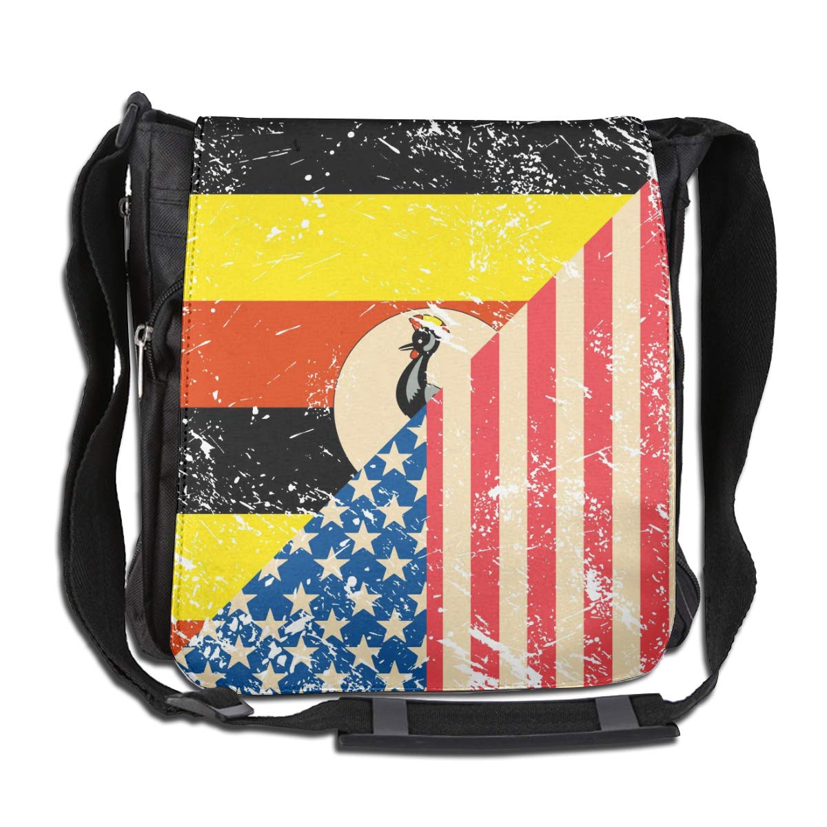American And Uganda Retro Flag Crossbody Shoulder Bag Novelty Casual Daily Messenger Bag Satchel School Bag For Women And Men