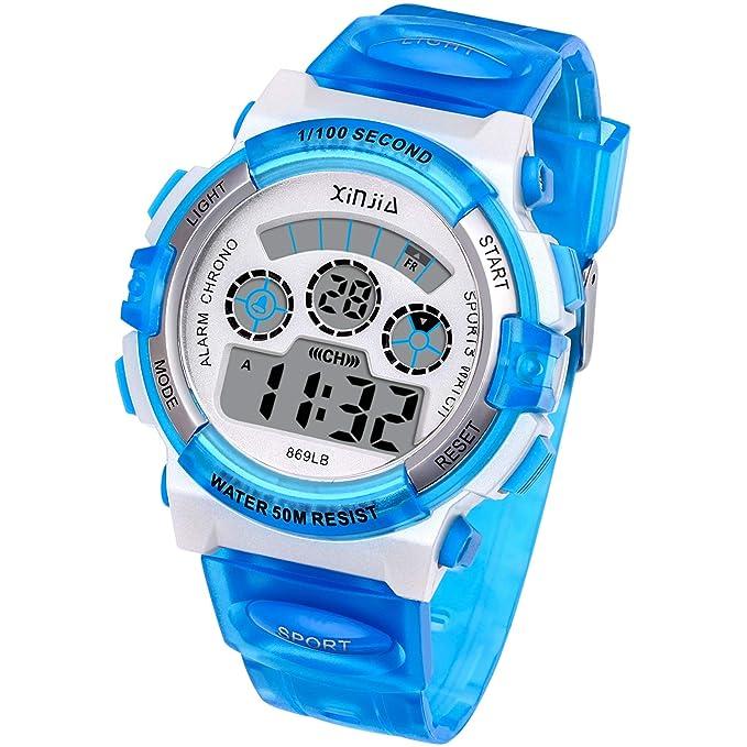 Reloj Digital para Niños,Niños Niñas 50M (5ATM) Impermeable 7 Colores LED Relojes Deportivos Multifuncionales para Exteriores con Alarma (Azul): Amazon.es: ...