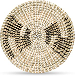 TTS Woven Plate Wall Decor - Rattan Plate Wall Decor - Wicker Trivet - Hanging Woven Wall Plate - Seagrass Wall Decor for Living Room or Bedroom - Wicker Plate Chargers - 30cm/11.81inch - Boho Plate Wall Decor (Eclipse)