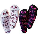 """Luxury Comfort Fit Cotton - """"If You Can Read This Bring Me A Glass of Wine"""" Socks - Two Pack - 1 Black & 1 White Pair - Funny And Silly Christmas, Bachelorette, Wedding & Birthday Gift Ideas For Women"""