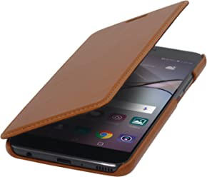 StilGut Book Type Case Senza Clip, Custodia Booklet a Libro Apertura Laterale in Vera Pelle per L'Originale Huawei P10 Plus, Cognac