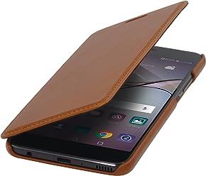StilGut Book Type sans Clip, Housse en Cuir pour Huawei P10 Plus. Etui de Protection de Cuir véritable à Ouverture latérale, Cognac