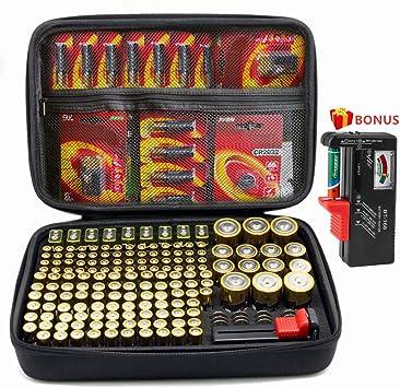 Holds AA AAA C D 9V 3V Included Battery Tester BT-168 SURDAR 74 Batteries Organizer Storage Bag Hard Case Carrying Case Box Holder Not Included Batteries