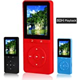 FecPecu Portable 8GB MP3 Player, Expandable Up To 64GB, Red