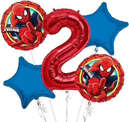 Amazon.com: Spiderman ramo de globos 2 nd cumpleaños 5 ...