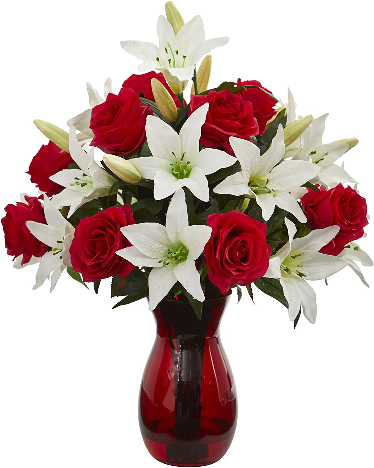 Nearly Natural Roses Lilies Artificial Silk Popular Jacksonville Mall brand in the world Arrangeme Vase Red