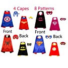 4 Double-Sided Superhero Capes and 8 Cartoon Felt Masks Matching for Kids Dress up Costume and Birthday Party Supplies