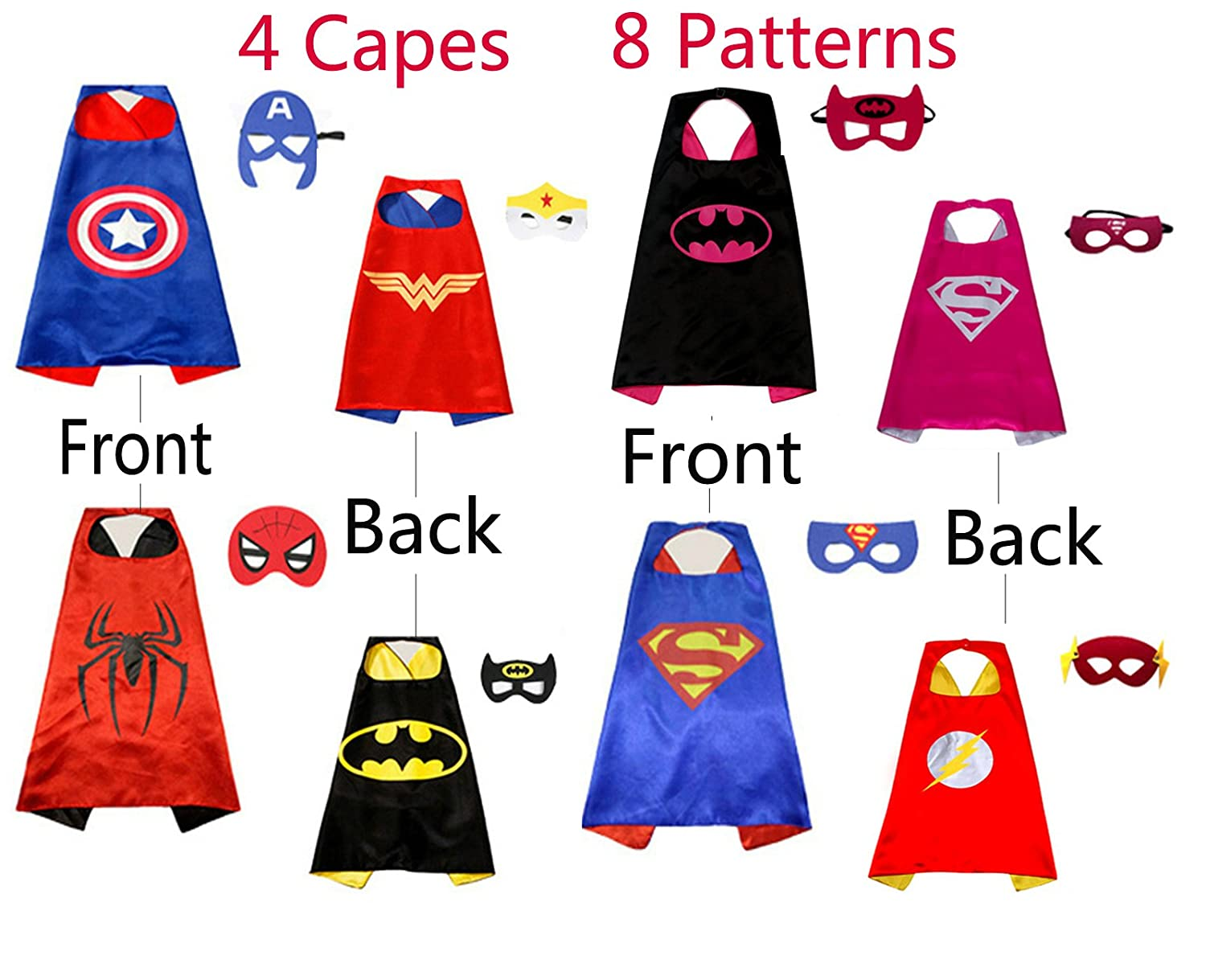 ZFang 4 Double-Sided Superhero Capes and 8 Cartoon Felt Masks Matching for Kids Dress up Costume and Birthday Party Supplies