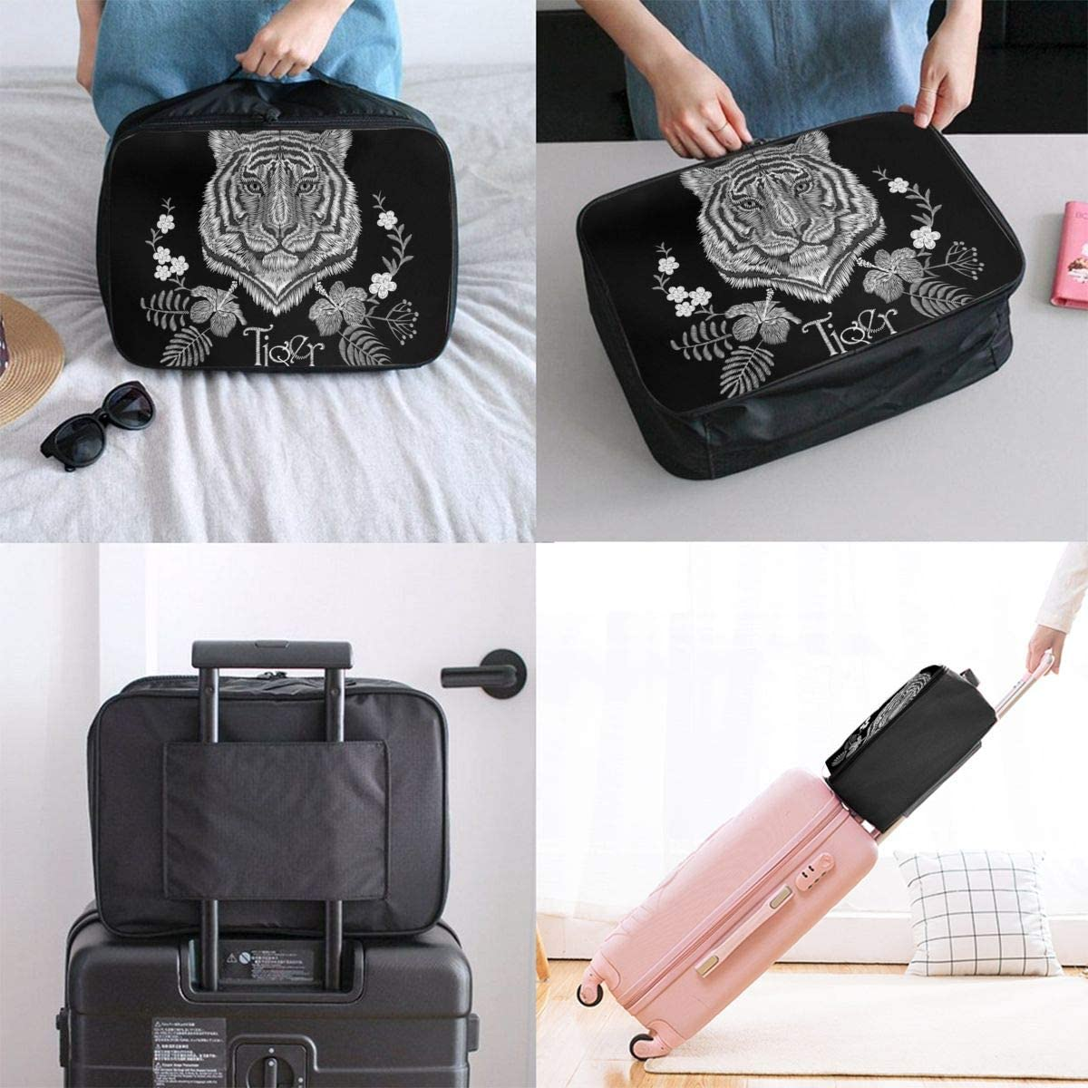 Embroidery Tiger Face Floral Print Lightweight LargeTravel Storage Luggage Trolley Bag Travel Duffel Bags Carry-On Tote