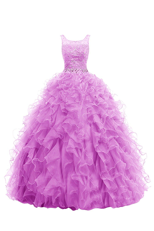 Dresstell 演奏会ドレス ステージドレス ロング丈 ビジュー付き ふわふわオーガンジー 編み上げ 花嫁ワンピース 結婚式ドレス B019MOY5F0 JP11|ペールパープル ペールパープル JP11
