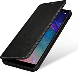 StilGut Book Type Case, Custodia per Samsung Galaxy A6 2018 a Libro Booklet in Vera Pelle, Nero