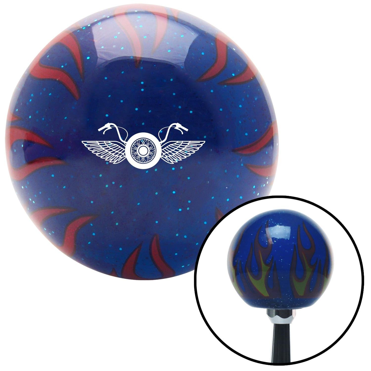 White Motorcycle Handlebars Blue Flame Metal Flake with M16 x 1.5 Insert American Shifter 298069 Shift Knob