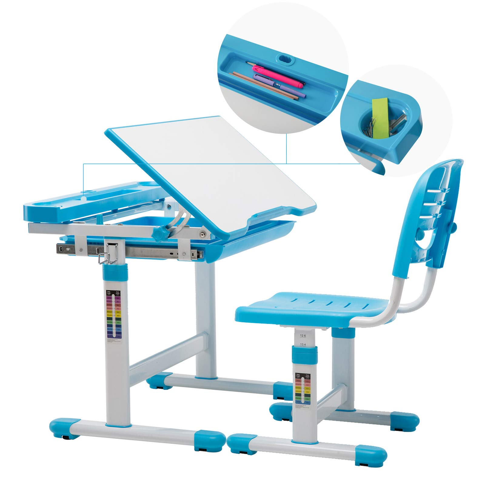Children's Desk Chair Set, Height Adjustable Kids Student School Study Table Work Station with Storage,Blue