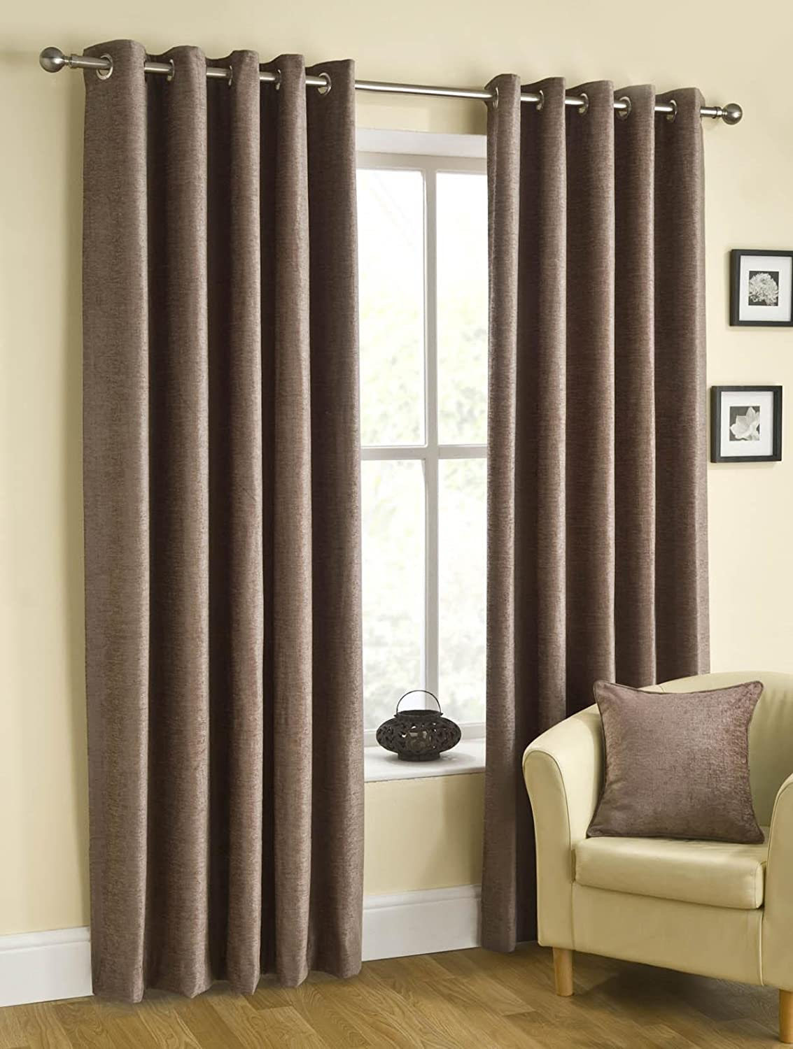 Chenille Plain Curtains Eyelets Lined Curtains /& Matching Cushion Covers