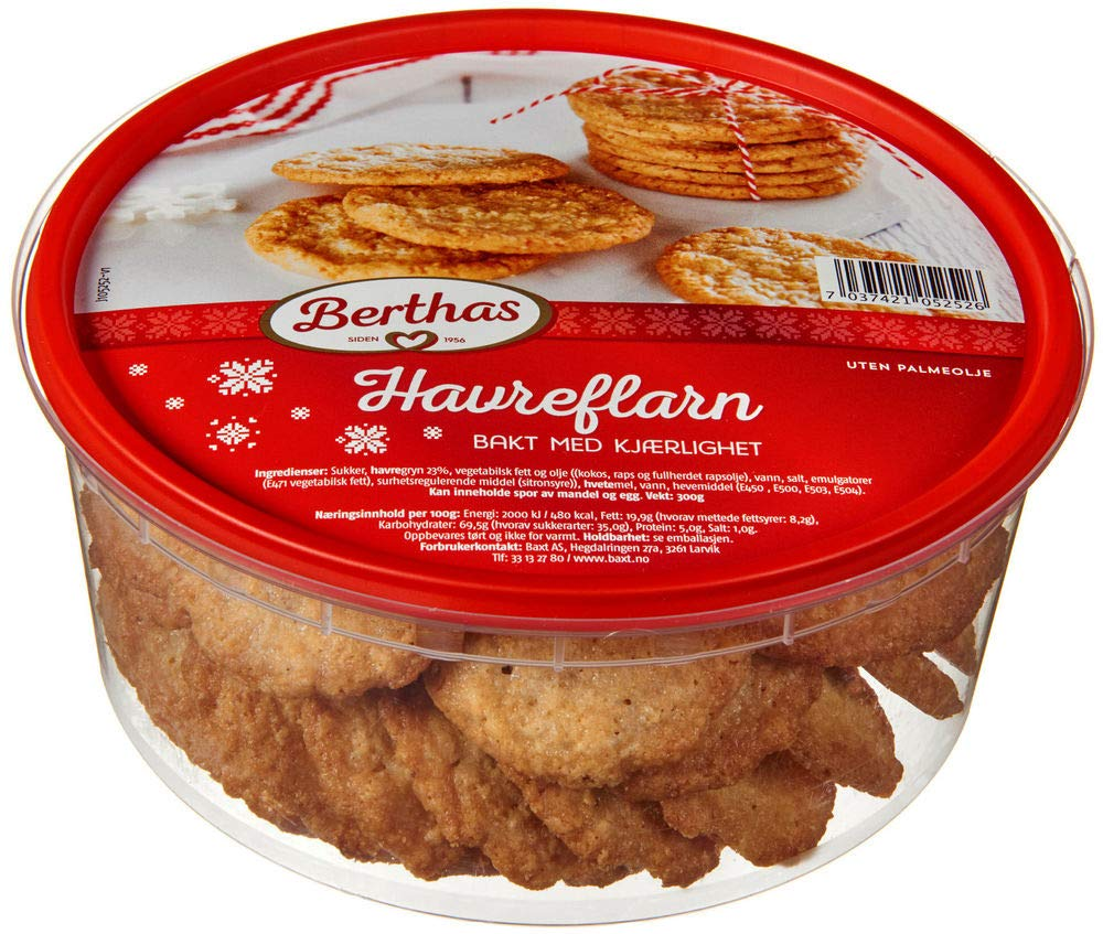 Berthas Havreflarn Traditional Norwegian Oat Flakes Cookies 10 58