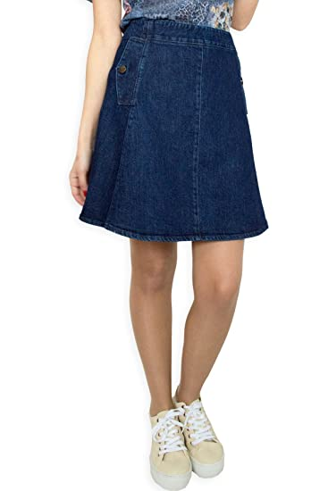 de3807b42 New Womens Blue Denim Sport Cotton A Line Casual Business Casual Skirt Size  UK 810 12
