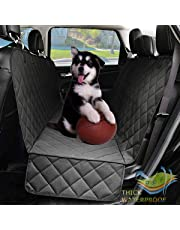 Dog Seat Covers with Side Flap, Non Slip|Waterproof Pet Travel Hammock Car Seat Protector, Durable Easy to Clean Pet Seat Covers for Cars Trucks SUVs (Black)