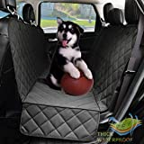 Dog Seat Covers with Side Flap, Non Slip Waterproof Pet Travel Hammock Car Seat Protector, Durable and Machine Washable Pet Seat Covers for Cars Trucks SUVs (Black)