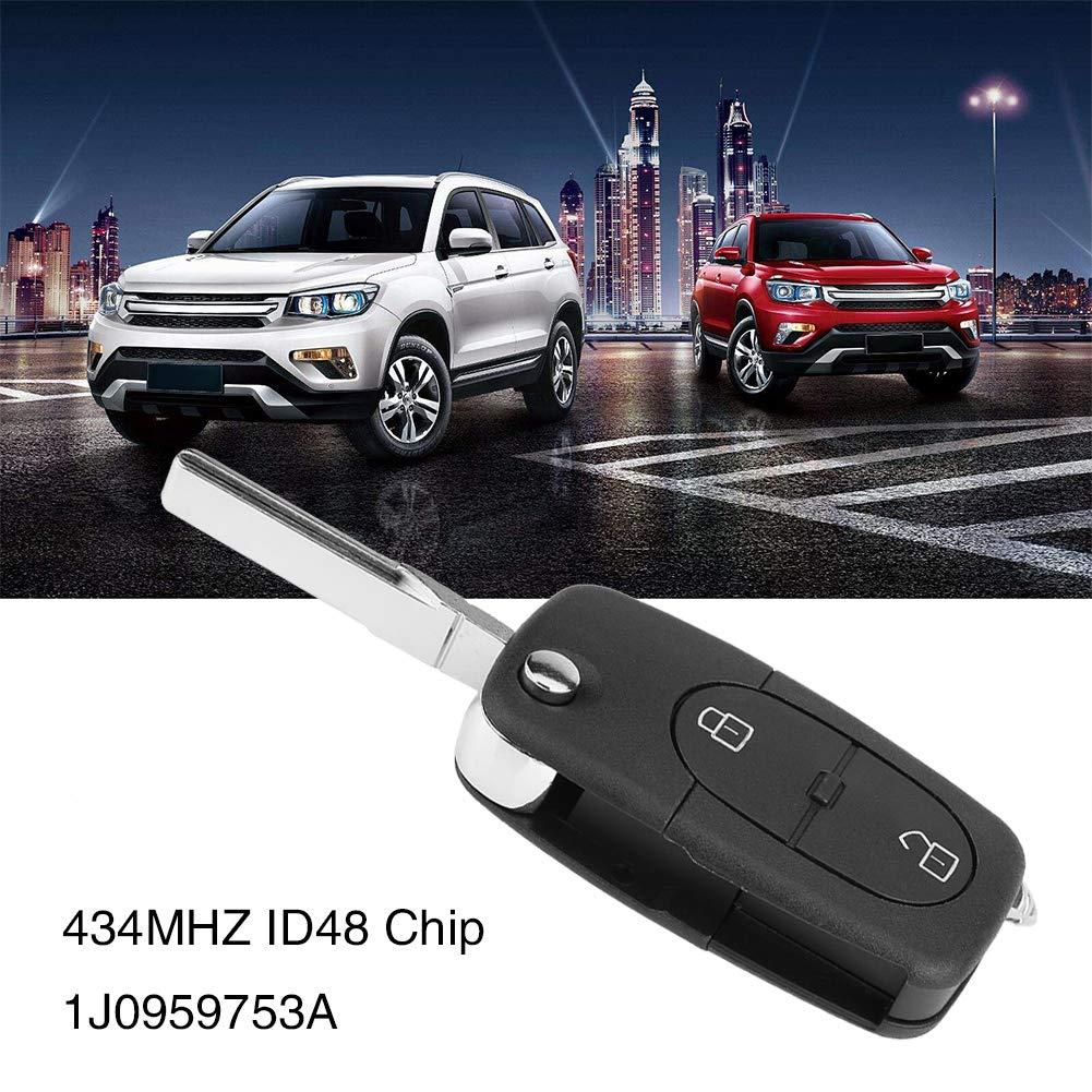 KIMISS 2 botones Llave teledirigida del coche Transmisor de chip ID48 434MHz para 1J0959753A