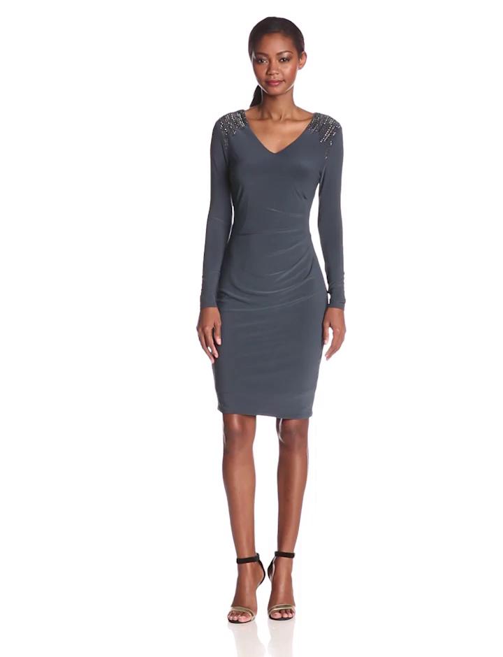 Anne Klein Women's 3/4 Sleeve Embellished Shoulder Dress, Shadow, 4