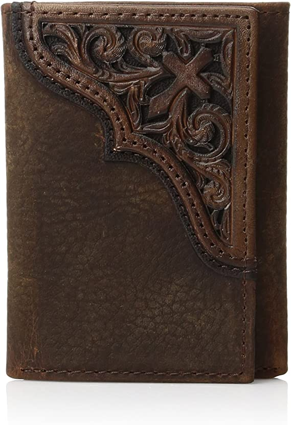 Ariat Men's Cross Corner Inlay Trifold Western Wallet