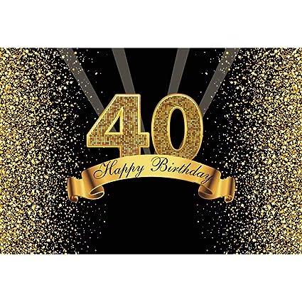 Cassisy 1,5x1m Vinilo Telon de Fondo Telón de Fondo del 40 cumpleaños Oro Lentejuelas Brillantes Fiesta de Adultos Fondos para Fotografia bebé ...