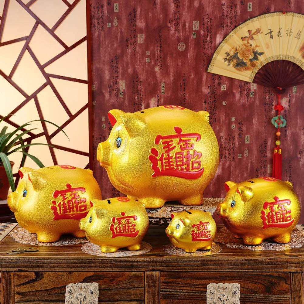 18'' Gold Pig Lucky Porcelain Fortune Pig Money Box Piggy Bank by FANCY PUMPKIN (Image #3)