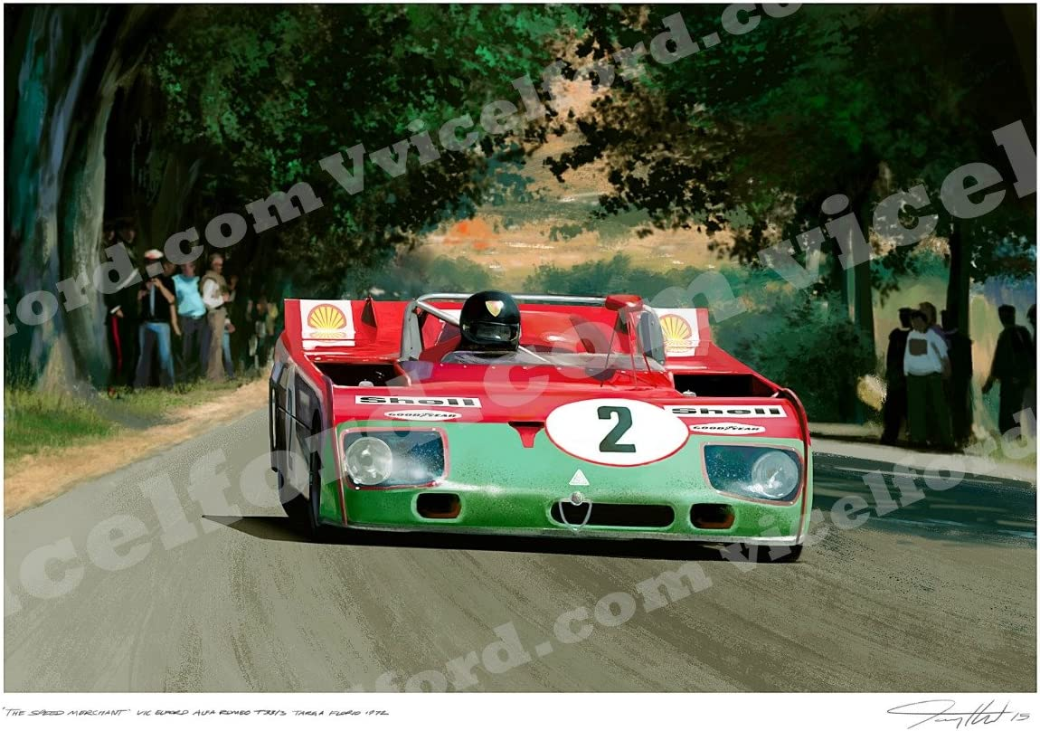 Alfa Romeo Tipo 33 Targa Florio 1972 – Art print Autographed by featured driver Vic Elford and the Artist.