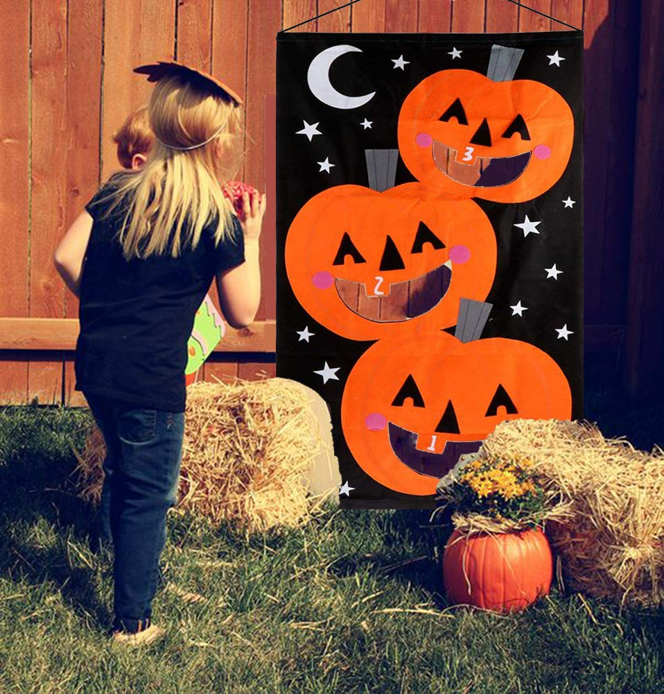 ERT Pumpkin Bean Bag Toss Game with 3pcs Bean Bags Halloween Decorations Pumpkin Banner Halloween Games for Kids Party