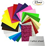 "Heat Transfer Vinyl HTV Iron On Vinyl Sheet, Magicfly 23 Pack Heat Press Vinyl Bundle 12x10"", 18 PU Color & 4 Glitter & KHS-02 Sliver, 1 Teflon Sheet"