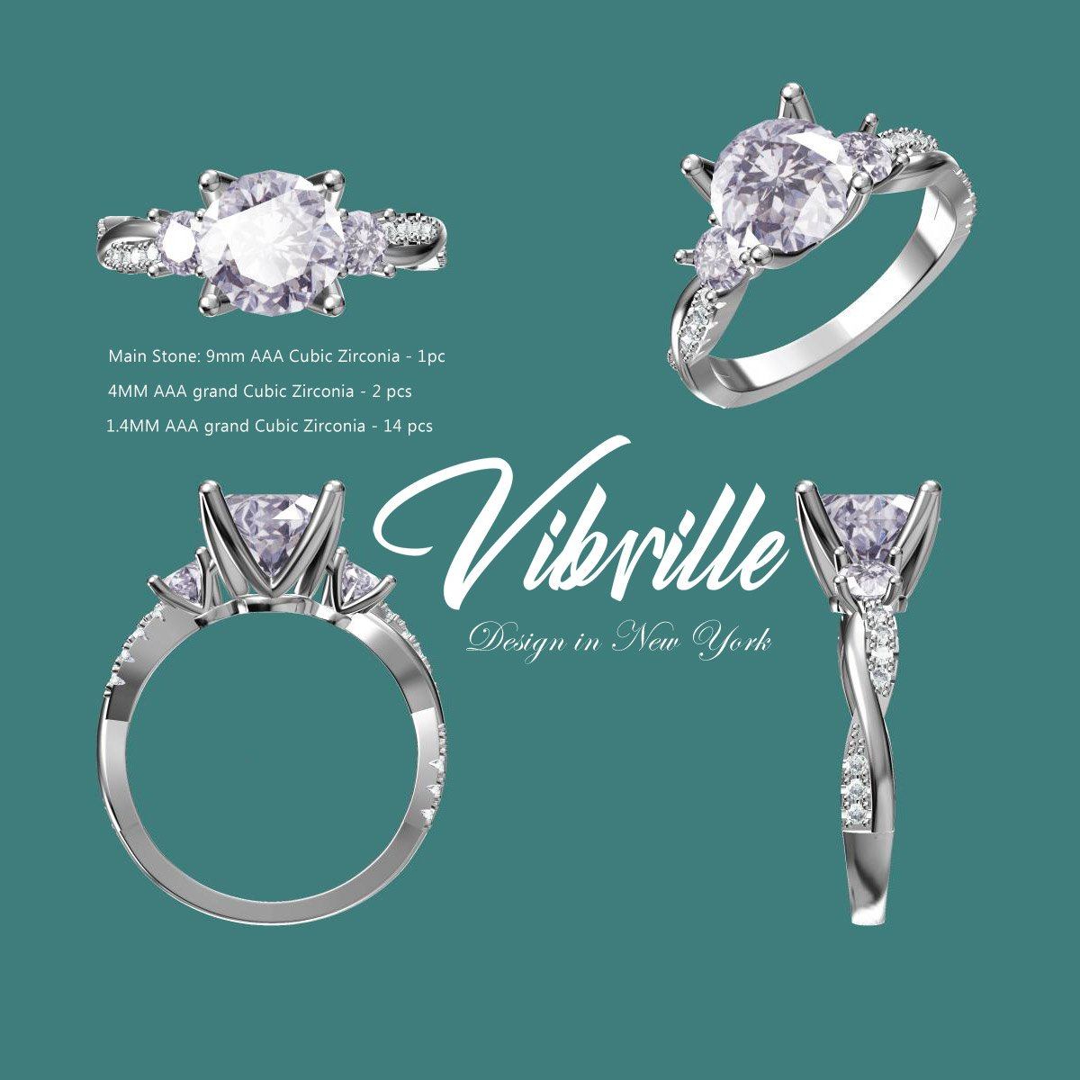 a697960a0cdecc Vibrille Sterling Silver Twisted Vine Round Three Stone Cubic Zirconia  Engagement Ring for Women Size 10 | Amazon.com