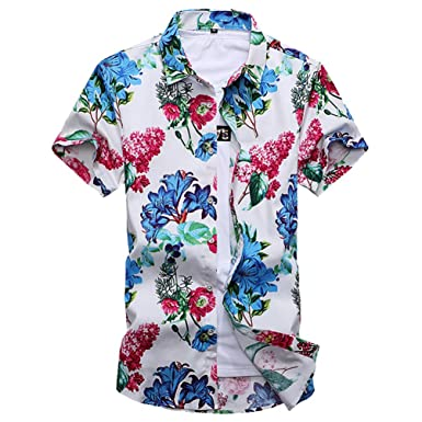 9ad744da705 YuanDian Men Summer Casual Retro Floral Printed Beach Hawaiian Shirts Plus  Size Slim Fit Short Sleeve Button Down Stretch Soft Tropical Aloha Funky  Blouses  ...