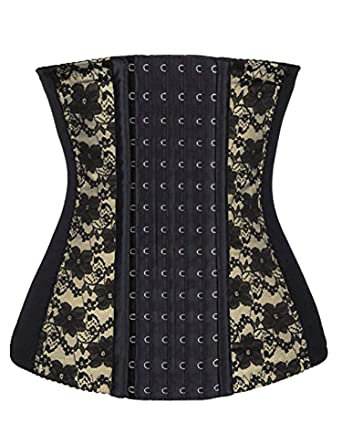 477d33cc7581a luxilooks Women s Mesh Steel Boned Waist Shaper Corset 6 Row Hooks Shapewear(Black  Lace