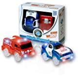 MIGE Light Up Toy Police Car and Fire Engine Car with Flashing Light Glow in the Dark City Action Toys Rush and Rescue Police and Fireman Pack of 2(Red+Blue)