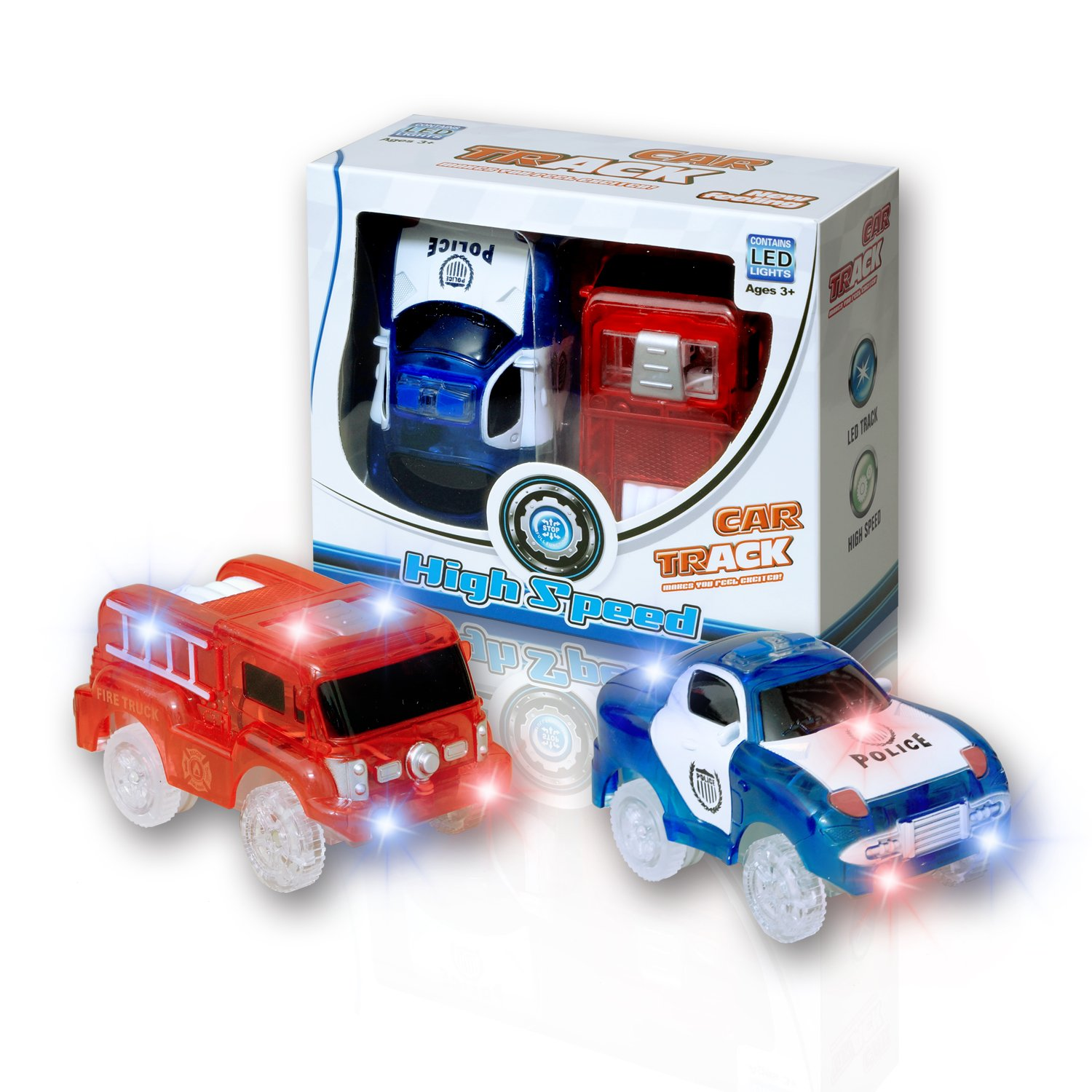 MIGE Light Up Toy Police Car and Fire Engine Car with Flashing Light Glow in the Dark City Action Toys Rush and Rescue Police and Fireman Pack of 2(Red+Blue) .
