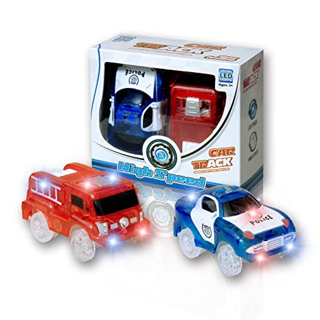 MIGE Light Up Toy Coche de Policía y Carro de Bomberos con luz Intermitente Brillo en ...