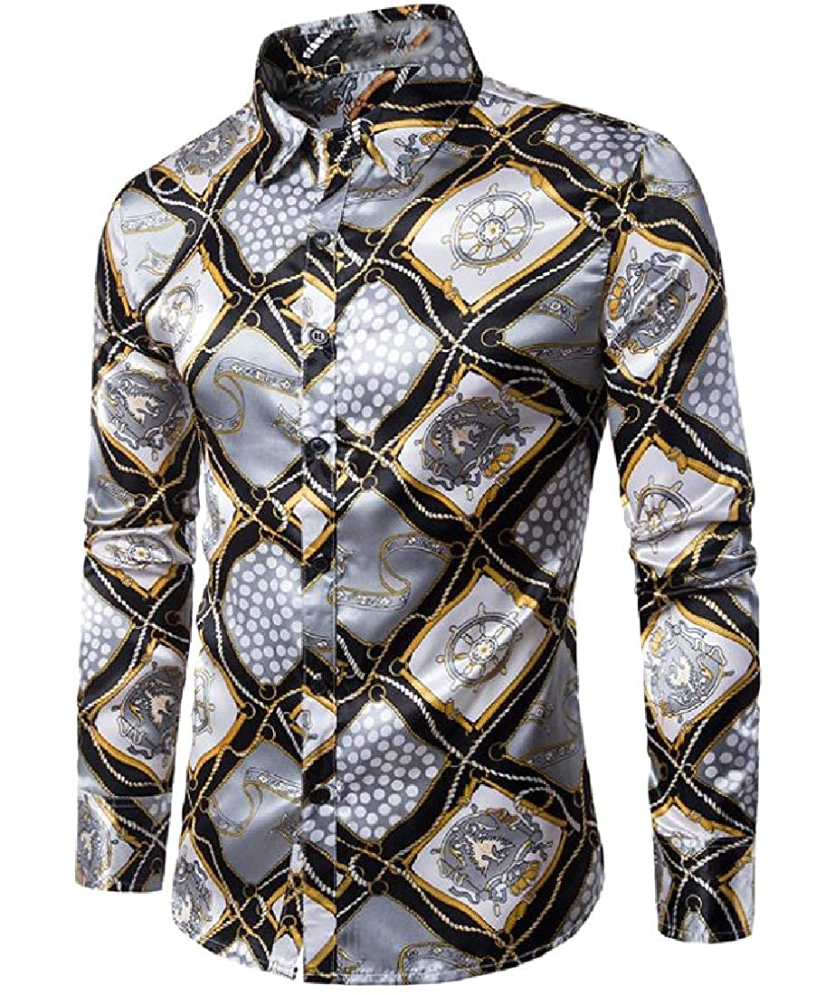 Abetteric Men Funky Slim Casual Club Cocktail Patterned Long Shirt