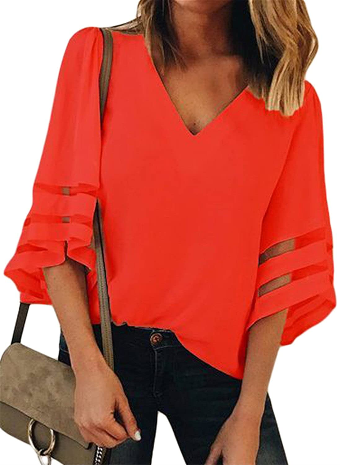 FIYOTE Womens V Neck 3/4 Bell Sleeve Lace Patchwork Casual Blouses Tops