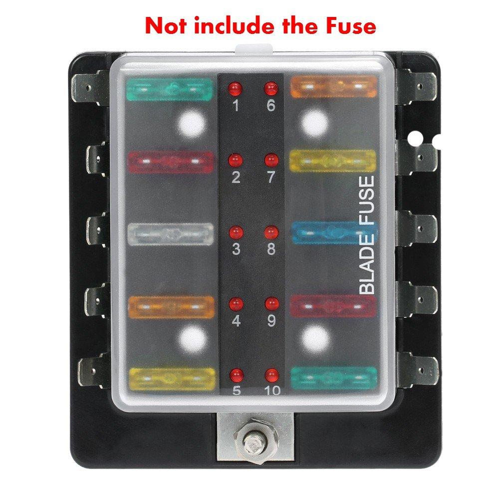 Ronben 10 Way Blade Fuse Box Holder With Led Warning Cobalt Boat Light Kit For Car Marine Trike 12v 24v Puller Automotive