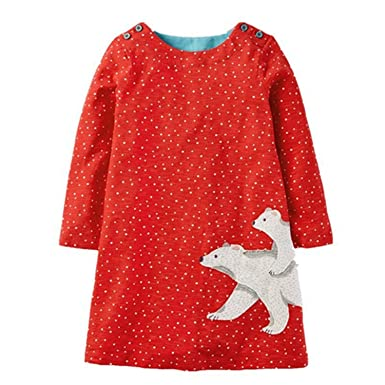 Coac3 Long Sleeve Dress Girls Clothes Winter Kids Dresses Animal Applique Princess Dress Children Jersey 14