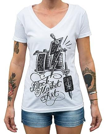 441cfc17b7 Black Market Art Women s Machine by Lucky AKI Tattoo Gun Logo Design T-Shirt