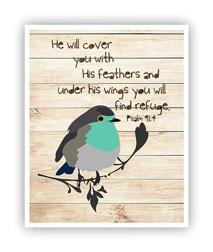 Amazon.com: Scripture Wall Art Psalm 91:4 Poster 11 x 14: Handmade