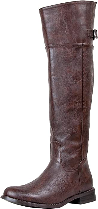 Breckelle Rider-18 New Women Leatherette Round Toe Riding Knee High Boot