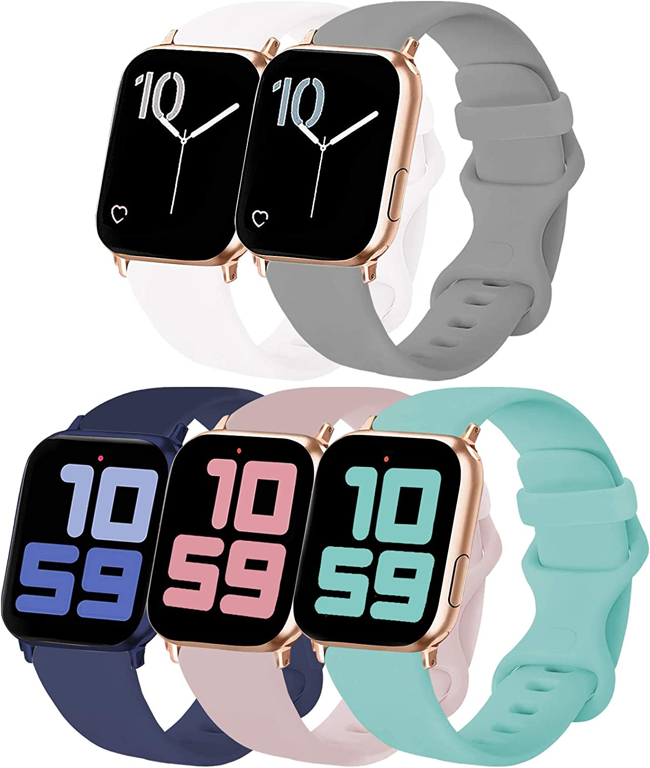 VATI 5-Pack Sport Bands Compatible with Apple Watch Band 40MM 44MM 38MM 42MM, Soft Silicone Watchbands Replacement Strap Compatible for Apple Watch Series SE/6/5/4/3/2/1 All Versions