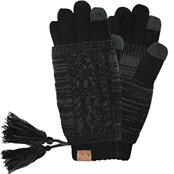 24732d10edc Amazon.com: Hatsandscarf CC Exclusives Women Two Piece Tasseled Glove with  Smart Tips (CG-6242) (Black/Grey_Prime): Beauty