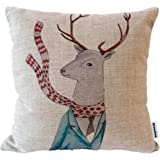 "Decorbox Cotton Linen Square Throw Pillow Case Decorative Cushion Cover Pillowcase for Sofa Fashion Deer 18 ""X18 """