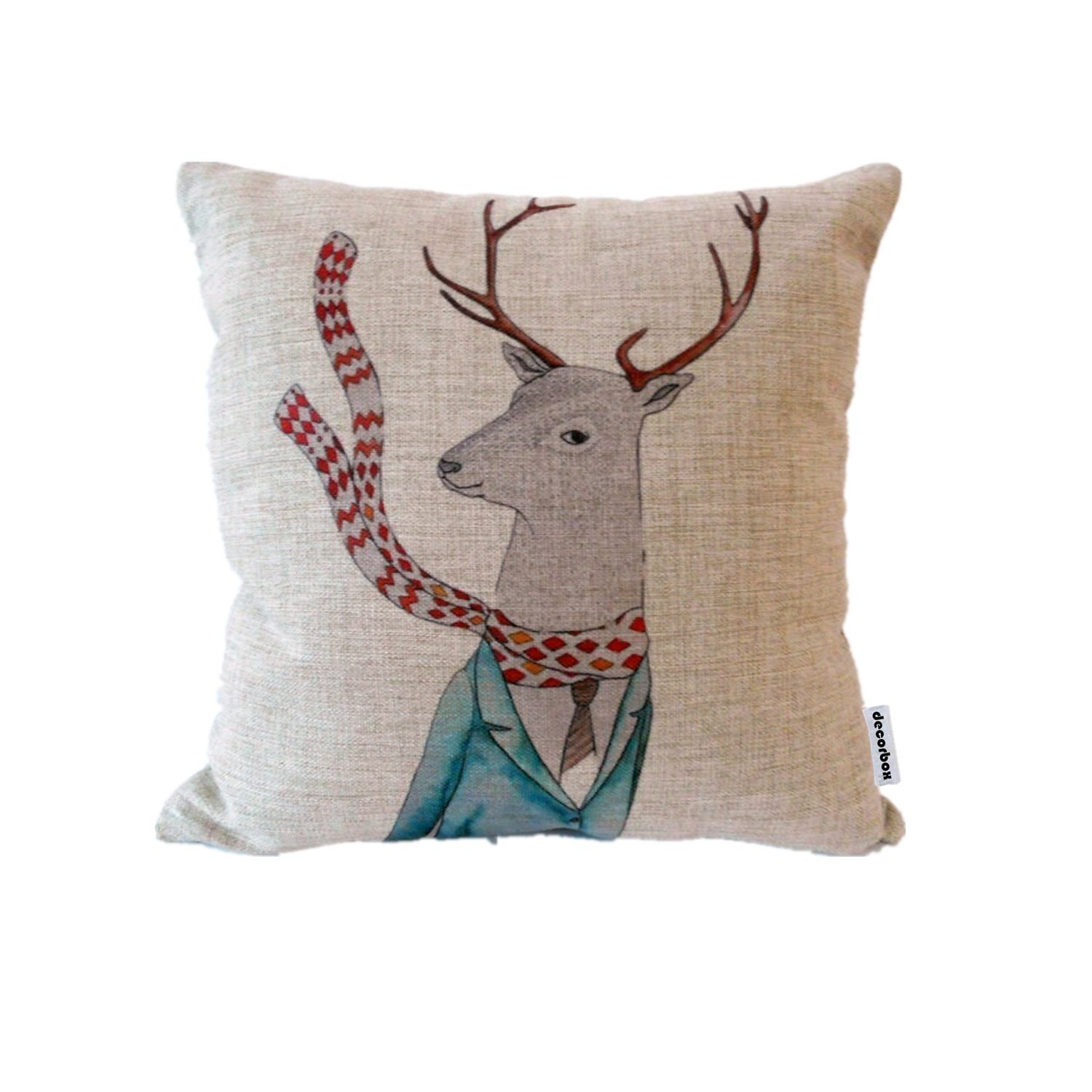 Whimsical reindeer Christmas decor pillow. #christmasdecor #reindeer #pillow #cushion #whimsical